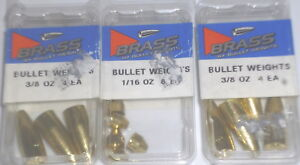 Bullet Weights 3/8 & 1/16 Brass Worm Weights (Lot of 3)