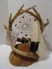 Wilderness Creek 3 Deer Antler Custom Dream Catcher Feather Rare Glass Bead OOAK