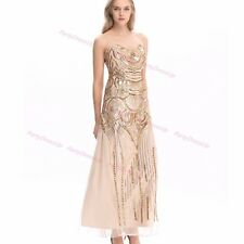 1920s Flapper Dress Gatsby Sequin Long Prom Fancy Party Gown Bridesmaid Costume