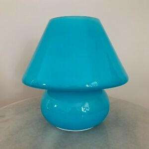 Blue Mushroom Lamp, Murano Style Glass Lamp, Desk Lamp