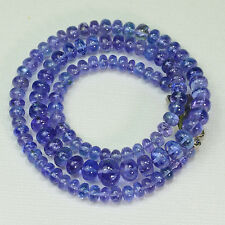 4.7MM-8.7MM Tanzanite Smooth Rondelle Bead 16 inch strand with silver clasp