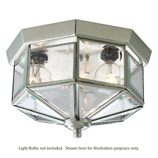 "10"" 3-Light Beveled Glass Satin Nickel Flush Mount Ceiling Fixture _458-10"