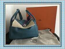 Auth HERMES LINDY 30 CM BLUE JEAN CLEMENCE LEATHER PALLADIUM HARDWARE , STMAP O