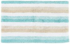 Caro Home Stripe Print Bath Rug 21'' X 34'' Blue/beige/white