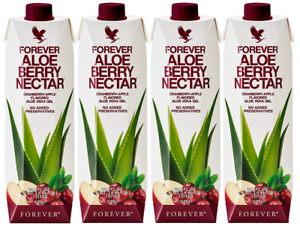 4 Forever Living ALOE BERRY NECTAR Cranberry Apple Flavored Aloe Vera GEL 33.8oz