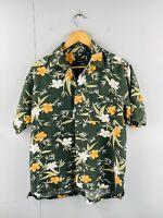 Izod Men's Vintage Short Sleeve Casual Floral Hawaiian Shirt Size M Green