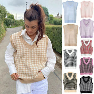 Women Cable Knitted Sleeveless Vest Ladies Knit Jumper Sweater Tank Top Casual