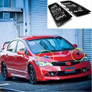 New Universal RR Type Car Hood Vents Scoop Bonnet Grille Air Flow Vent Duct 2pcs