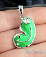 Sterling Silver Green Nudibranch Sea Slug Pendant Necklace Sealife diver Jewelry