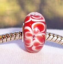 Red Orange White Flower Single Core Glass Bead fits European Charm Bracelets