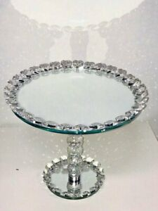 CRYSTAL 30CM ROUND CAKE CUPCAKE STAND WEDDING PARTY WITH CRYSTAL