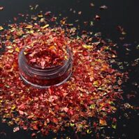 USA Unicorn Flakes Cosmic Mylar Glitter IRIDESCENT RED ICE Acrylic Gel Nail Art