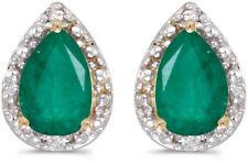 14k Yellow Gold Pear Emerald And Diamond Earrings