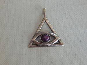 Sterling Silver Triangle Pyramid Amethyst Evil Eye Pendant
