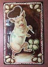 Antique Russian New Year relief postcard pre 1917 Dancing pig Heart nuts clover