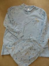Schlafanzug Bader 42 Blau Blumen Muster Baumwolle Set Hellblau Pyjama Neu