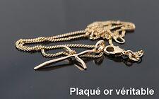 neuf pendentif petite Croix et chaine plaqué Or véritable femme enfant communion