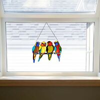 Stained Glass Window Panel Tropical Birds Colorful Sun Catcher Home Decoration