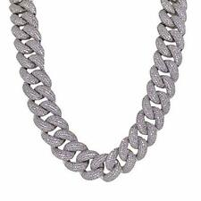 14k White Gold Plated Simulated Diamond 18mm Iced Cuban Link Chain Necklace 20""
