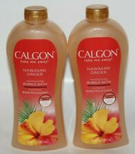 LOT (2) CALGON HAWAIIAN GINGER BUBBLE BATH 30 FL OZ TAKE ME AWAY MOISTURIZING