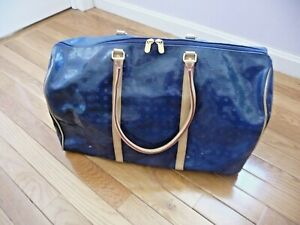 ARCADIA Duffle Bag Travel Carry ALL Blue Pattent Logo Leather Made in Italy HuGE