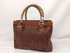 Authentic ETRO Paisley Pattern PVC Brown shoulder hand bag 7B220170m