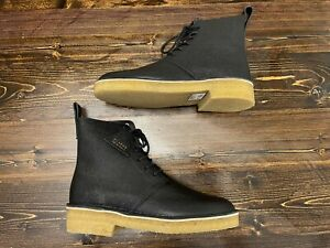 "Clarks Men's ""Desert Mali 2"" 6-Eye Boots, Size 11, Black Scotch Grain Leather"