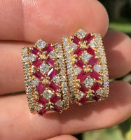 Designer Red Ruby & Diamond 14K Yellow Gold Cluster Omega Back 22/12mm Earrings