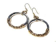 Bijou acier argenté doré boucles d'oreilles créoles fermoir crochet earrings