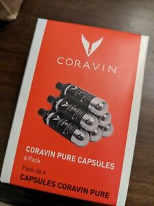 Wine Coravin Argon Capsules - Patented Pure Cap & Seal Technology - 6 Pack, New
