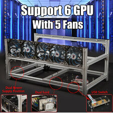 Aluminio 6 GPU Miner Air Mining Rig Frame Case Con USB Switch+Fans For Ethereum