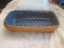 1999 Longaberger Bread Basket, Blue  Fabric, / Basket Protector
