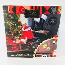 FAO Schwartz 7 Piece Santa Evidence Kit Santa Bag Glasses Bell Glove Button Etc