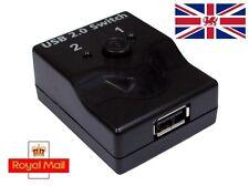 USB 2.0 Mini Manual Share Switch - 2 Way Port Splitter 1 Printer Device to 2 PCs