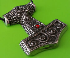 Solid Pewter Viking Skane Thor's Hammer Mjölnir Pendant Necklace - Red Jewel