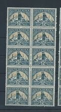 South Africa stamps. 1933 etc 1 1/2d Gold Mine MNH block of 5 pairs folded(C939)