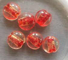 Vintage Venetian Red Gold Sparkle Core Clear Encased Lentil Art Glass Bead Lot