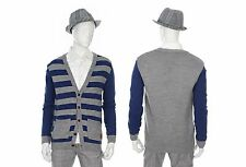 ANDEW Mens Casual Stripe Pattern Y-Neck Cardigan Sweater Multi-Color Size M NWT