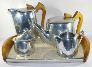 Retro Vintage Picquot Ware Tea Set Five Pieces with Tray Original teapot