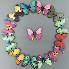 50Pcs Mixed Bulk Butterfly Phantom Wooden Sewing Buttons Scrapbooking 2 Holes hs