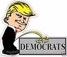 Donald Trump President Calvin Pee On Democrats Funny Decal Sticker