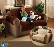 1 Seater Chocolate Brown Quilted Sofa / Settee Furniture Protector Cover Throw