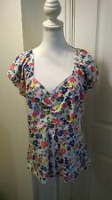 BNWT Peacocks White Floral Lace Up Top Size 20