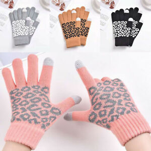 1Pair Keep Winter Gloves Warm Knitted Jacquard Full Finger Touch Screen Gloves