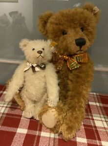 Vintage Steiff White Teddy Bear - Approx 10 Inches With Button & Tag