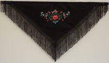 New Spanish Flamenco Shawl - Black with Multi Coloured Pattern and Black Fringe