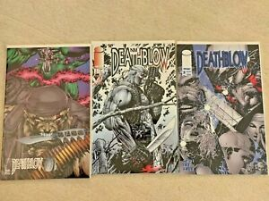 LOT OF 3 DEATHBLOW COMIC BOOKS 1993 ISSUE #0 1994 ISSUE #5 1996 ISSUE #5  MINT