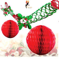2 Christmas Xmas Hanging Wall Ceiling Garland + 2 Honeycomb Ball Decoration