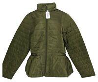 zuda Women's Sz XL Quilted Peplum Puffer Jacket Green A384435