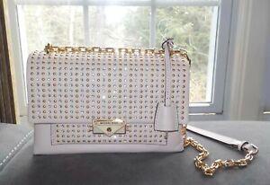 Michael Kors Cece Studded Leather Chain Shoulder Bag Soft Pink NWT $458